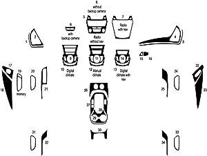 Rvinyl Rdash Dash Kit Decal Trim for Hyundai Santa Fe 2013-2018 - Wood Grain (Oak Blonde)