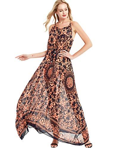 Basic Model Women's Strap Sleeveless Sundress Summer Beach Dress Floral Printed Maxi ()
