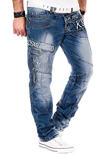 Kosmo Lupo Herren Jeans Hose Verwaschen Vintage Nieten Clubwear Denim Blau / L32 & L34 (W38/L34)