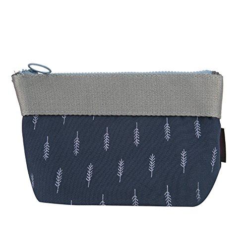 Jocestyle Women Girls Portable Travel Toiletry Bag Zipper Cosmetic Makeup Pouch Storage Organizer Bag Coin Case (01 Blue Leaf)