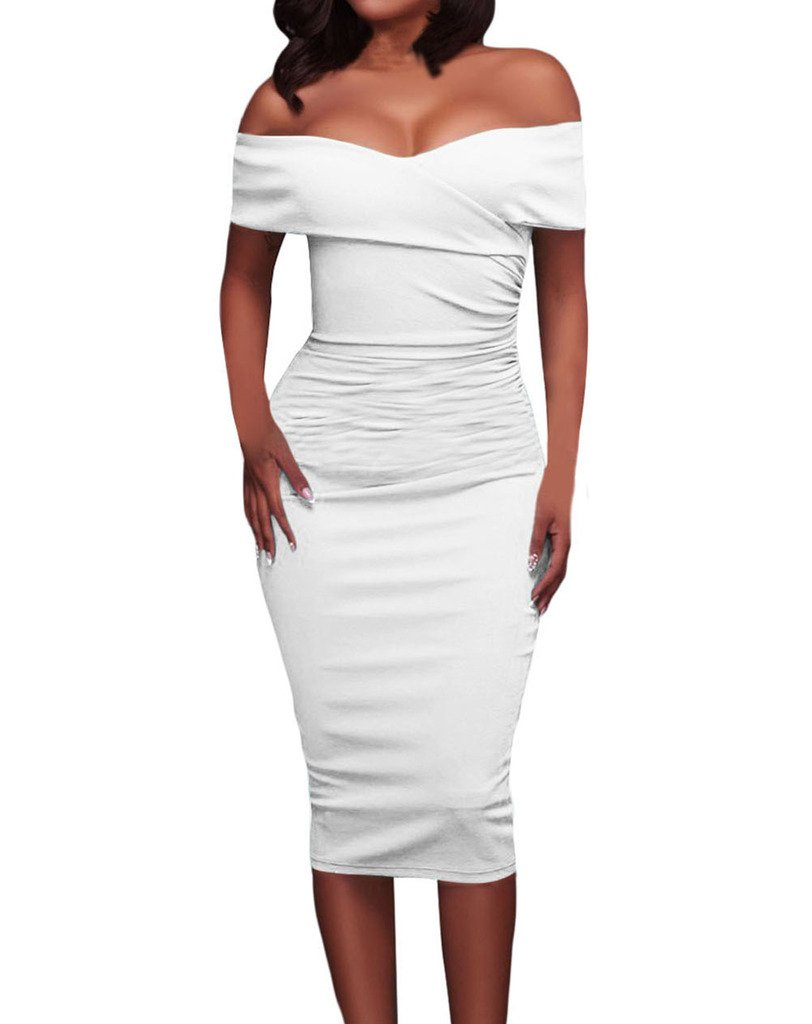 Tiksawon Womens Sexy Ruched Off Shoulder Bodycon Clubwear Stage Dress M White