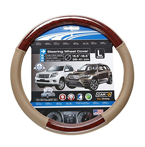 eering wheel cover, Two tone Beige and Wood Grain design with a Chrome accent, fits all 15.5