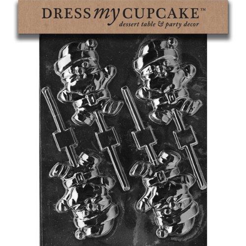 Dress My Cupcake DMCC096 Chocolate Candy Mold, Santa Lollipop-Jumping, Christmas