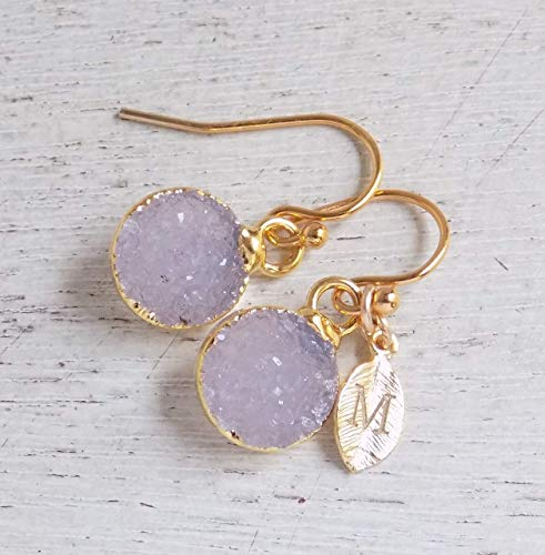 - Personalized Natural Druzy Earrings Small Gemstone Dangle Drop Gray Clip-on Earrings Gold Minimalist