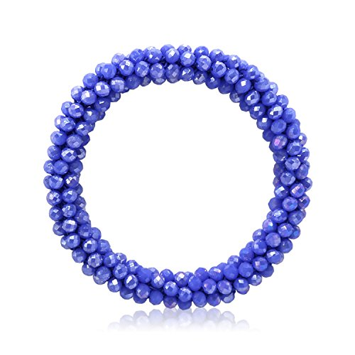T-Doreen Navy Blue Crystal Stretch Bracelet for Women Girls Gemstone Beaded Boho Statement Bracelet ()