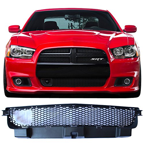 Front Grille Fits 2012-2014 Dodge Charger | SRT8 Style ABS Front Lower Grille With Adaptive Cruise Control Black By IKON MOTORSPORT | ()