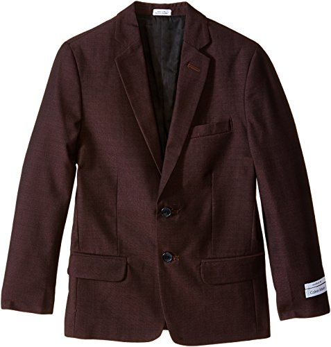 Calvin Klein Big Boys' Birdseye Jacket, Burgundy, 10