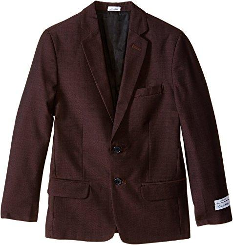Calvin Klein Big Boys' Birdseye Jacket, Burgundy, 10 ()
