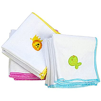 [Free Shipping] 5pcs Embroidered Handkerchief Cotton Gauze Baby Napkin Face Towel // 5pcs