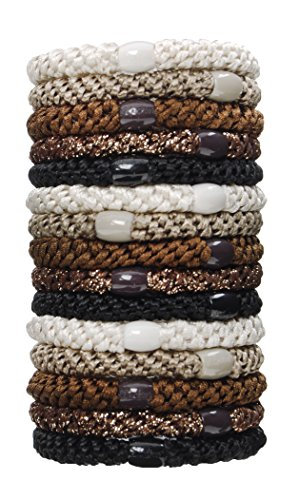 L. Erickson Grab & Go Ponytail Holder, Daily Neutral, Set of Fifteen - Exceptionally Secure with Gentle Hold