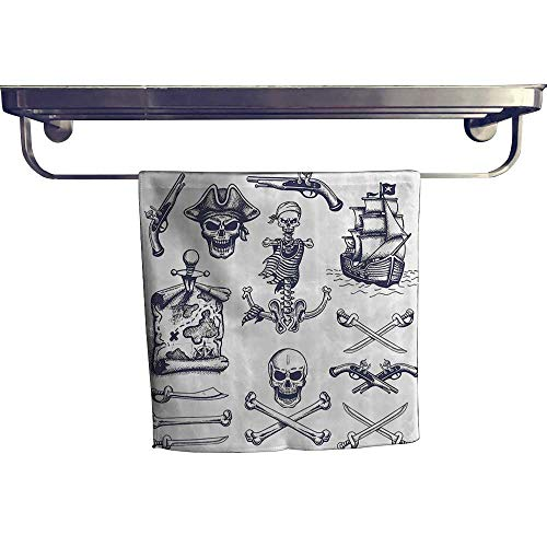 - Leigh home Dry Fast Towel,Pistol Crosss Skull Sword Dagger Pirates Compass Doodle Style ,Gym Swim Hotel Use W 10