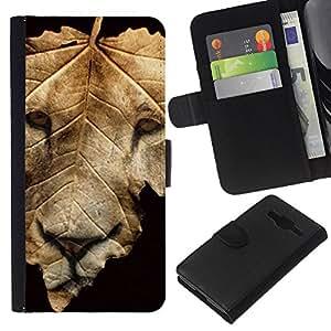 León de la caída del otoño Negro abstracto- la tarjeta de Crédito Slots PU Funda de cuero Monedero caso cubierta de piel Para Samsung Galaxy Core Prime