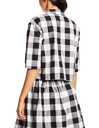 Crop Black Jacket White para Black White Pepaloves Corta Chaqueta Mujer Multicolor Apqzw1nx