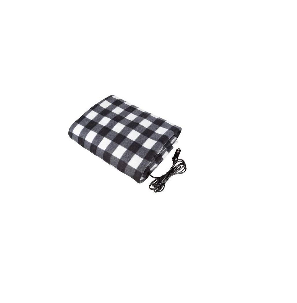 12V Electric Heated Fleece Car Blanket, Travel Blanket for Car, Truck, Boat, RV, Keeps You Warm While You Drive (Black & White Plaid) by Ezone