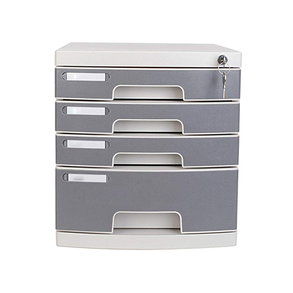 LBWT Desktop File Cabinet - Office Storage Box Four-Layer File Cabinet with Lock Multi Layer Drawer File Cabinet Hard Plastic by LBWT