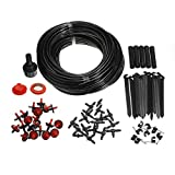 """Garden Micro Drip Irrigation System with 75ft(23m) Blank Distribution Tubing Hose, 3/4"""" BSP Tap Adaptor, Drippers, Filter Washer, Flow Control Valve, Pipe Connectors, End Clamps, Pipe Clips, Fixed Ste"""