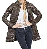 (US) Winwinus Women's Basic Long Sleeve Hooded Parka Jacket Outerwear Brown US XXL