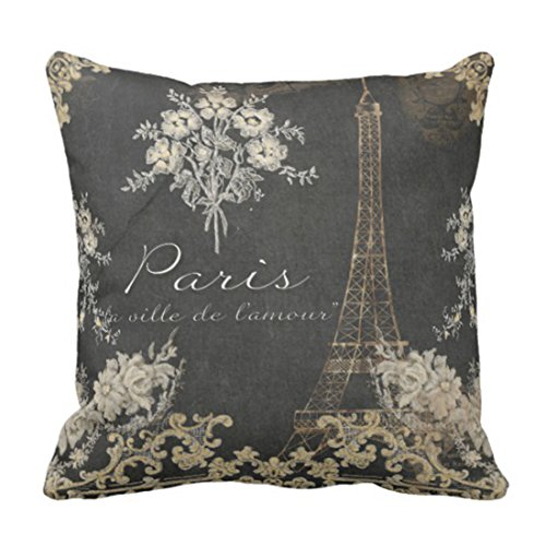 Emvency Throw Pillow Cover Black Vintage Paris City of Love Eiffel Tower Chalkboard Tan Antique Decorative Pillow Case Home Decor Square 20 x 20 Inch Pillowcase