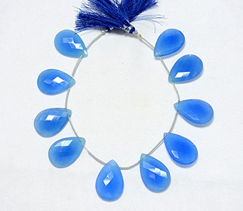 blu Chalcedony Faceted Pear Shape Beads, Chalcedony Cut Beads, Gemstone For Jewelry, 20x30mm, 4.5 Inches Strand