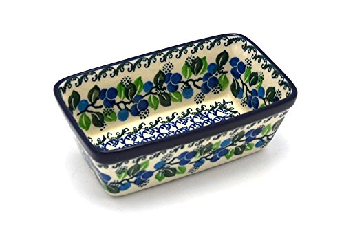 (Polish Pottery Baker - Mini Loaf Pan - Blue Berries)