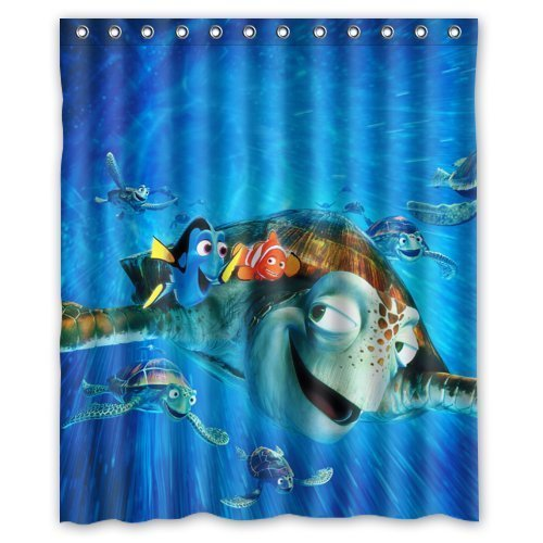 Finding Nemo Custom Polyester waterproof Bath Shower Curtain Rings Included 66x72