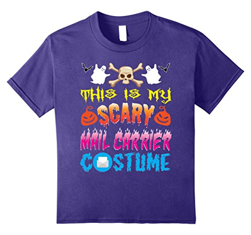 Kids This Is My Scary Mail Carrier Costume For Halloween T-Shirt 12 Purple (Mail Carrier Costumes)