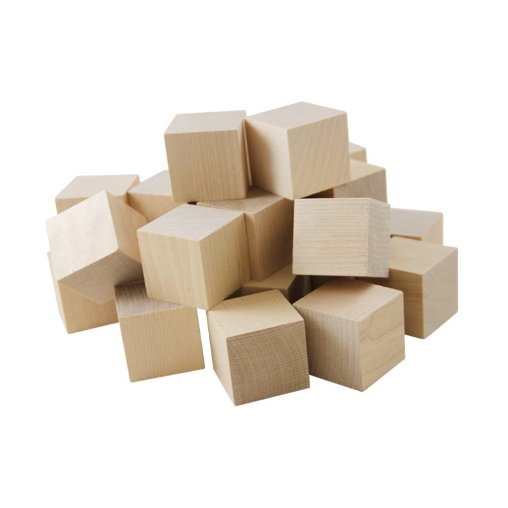 Wooden Cubes - 1-1/2 Inch - Wood Square Blocks For Photo Blocks, Crafts & DIY Projects (1-1/2) - by Craftparts Direct - Bag of 24 SQ150024