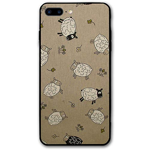 5.5Inch iPhone 8 Plus Case White Black Sheep Pattern Anti-Scratch Shock Proof Hard PC Protective Case Cover