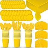 Disposable Paper Dinnerware for 24 - Sunshine Yellow - 2 Size plates, Cups, Napkins , Cutlery (Spoons, Forks, Knives), and tablecovers - Full Party Supply Pack
