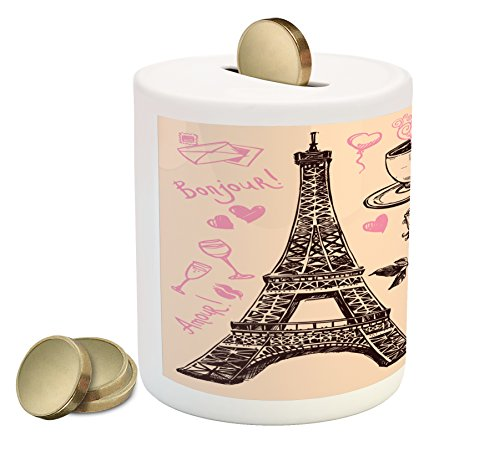 Traditional Piggy Bank - Ambesonne Eiffel Tower Piggy Bank by, Paris Eiffel Tower Bakery Delicious Croissant Traditional Floral Design, Printed Ceramic Coin Bank Money Box for Cash Saving, Pink Dark Brown