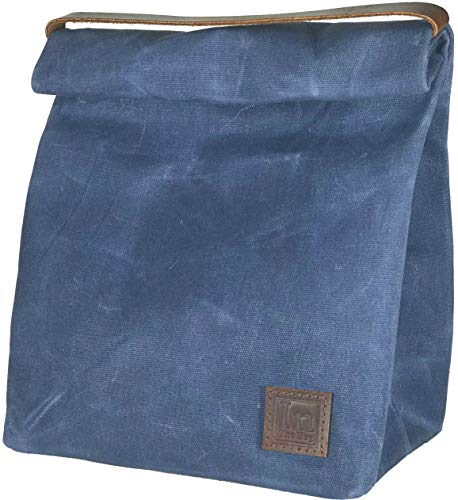 Lunch Bag  Large Lined Waxed Canvas Roll Top Tote Bag; Leath