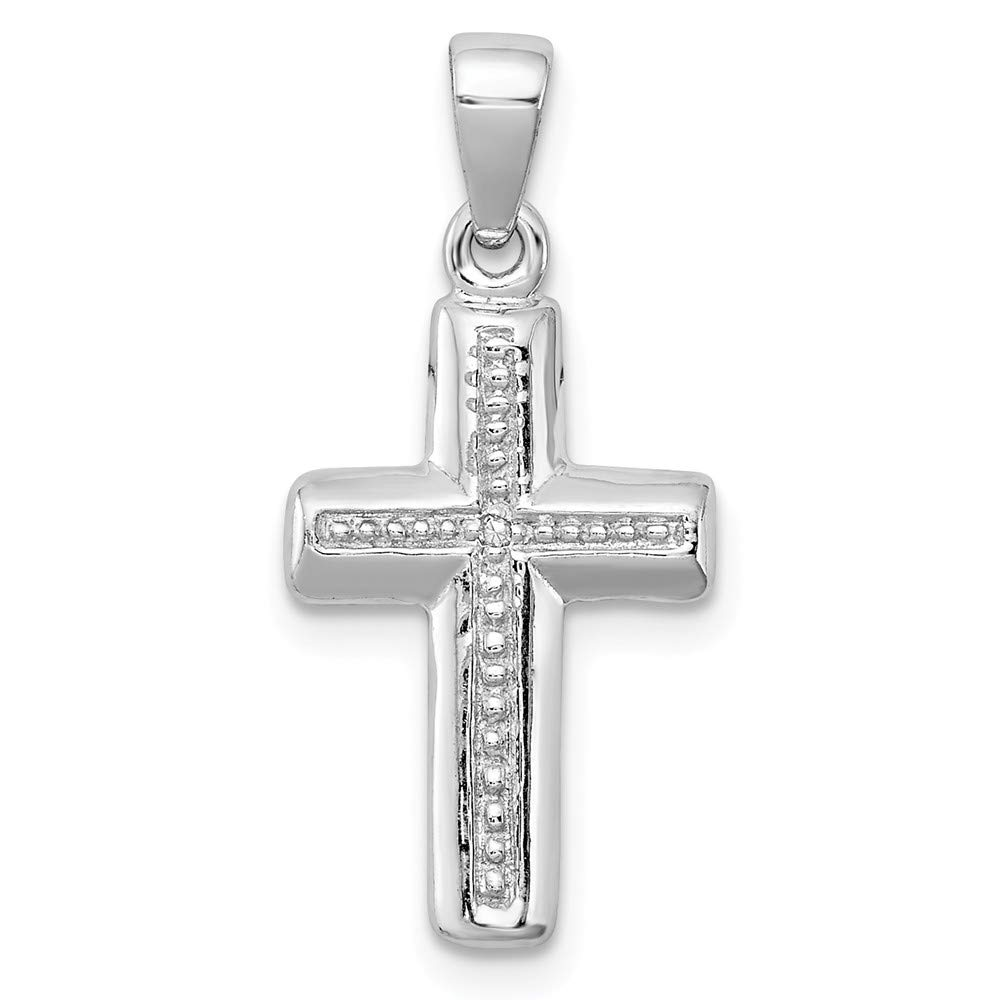 FB Jewels Solid 925 Sterling Silver Rhodium Plated Diamond Cro925 Sterling Silver Pendant
