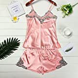 Software : AIMTOPPY Women Sexy Sliver embroidery stitching silk sexy pajama suit (M, Pink)