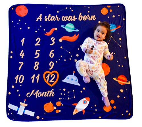NOOL BABY PRODUCTS Baby Monthly Milestone Blanket w/Heart Frame, White Ribbon, Bonus Gift Card |Newborn Photo Prop with Growth Tracker | Cute, Large (47 x 47 ), Soft, Gender Neutral, boy, Girl