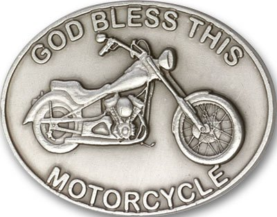 Antique Silver Tone God Bless This Motorcycle Visor Clip