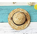 Stock Show Pet Straw Hat, Dog Cat Spring Summer Beach Sunhat Handcrafted Woven Straw Hat with Rivet with Adjustable String for Pet Dog Cat Rabbit Party Daliy Wear Photo Props