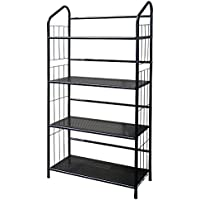 Bonnlo Multifunctional Metal Bookcase Shelving Rack Portable Practical Storage Rack for Home, Kitchen, Bathroom And Office Shelving 24 4/5 L x 11 W x 48 2/5 H (Black 4 Tier)