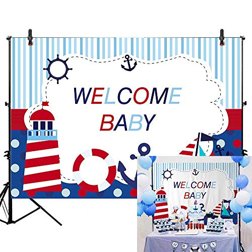 Allenjoy 7x5ft Nautical Theme Welcome Baby Photography Backdrop Navy Blue Marine Voyage Background for Boy Prince Infant Newborn Baby Shower Happy 1st First Birthday Banner Cake Table Decoration Props -