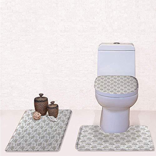 Comfort Flannel 3 Pcs Bath Rug Set,Contour Mat Toilet Seat Cover,Horoscopes with Sun Crescent Moon Faces Boho Celestial Arrows Artprint with Blue Yellow,Decorate Bathroom,Entrance Door,Kitchen,bedroo