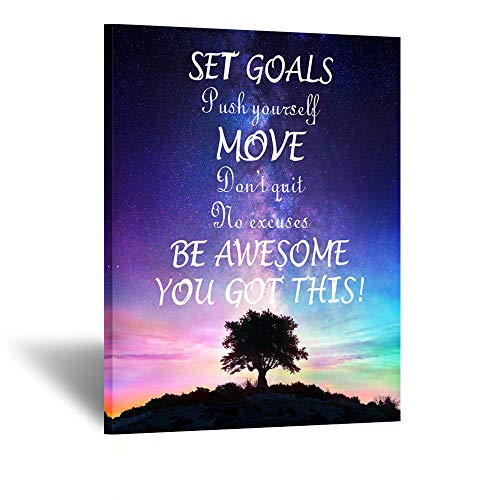 Kreative Arts Set Goals, Push Yourself, Don't Quit - Inspirational Quotes Canvas Prints Wall Decal Gym Office Classroom Quotes Framed Artwork Home Decoration Motivational Posters Art Print 24x32inch (Inspirational Art Wall Sets)
