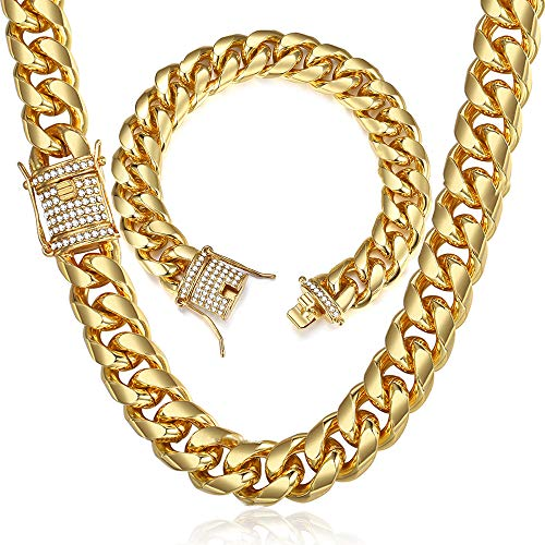 14 Mm Polished Bangle - Huaming 15mm Miami Cuban Link Chain for Mens Heavy Polished Stainless Steel Curb Necklace Bracelet Set Iced Out Link Chain with cz Diamond Chain Choker Gold 8&20inch