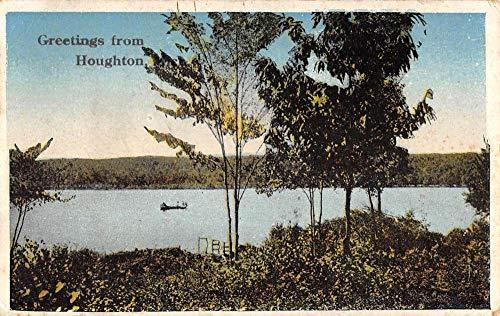 Houghton Lake Michigan Scenic Waterfront Greeting Antique Postcard K106254