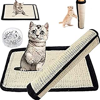 2 Pack Cat Scratching Material Mat Cat Scratcher Replacement for Cat Tree Natural Sisal Fabric Mat with Velcro and Spiral Pins Protecting Furniture Sofa Couch Chair Desk Legs