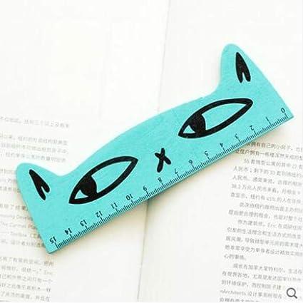 Regla de madera de 15 cm con diseño de gato, color B: Amazon.es: Oficina y papelería