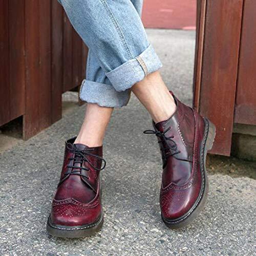 da Casuali Vera Stivali Bullock Uomo Red Stivaletti Stivali Martin Vintage Stivaletti Pelle Stringati in qqzF7ExnwW