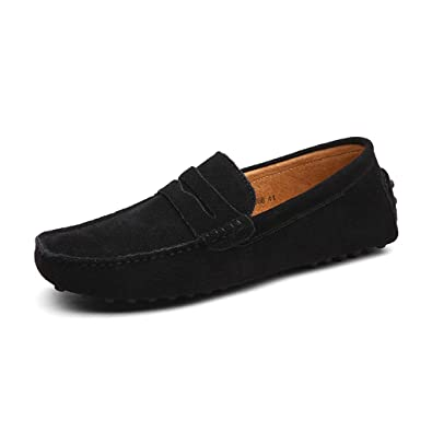 CCZZ Mens Suede Leather Moccasin Slippers with Soft Sole Slip On Penny Loafer Casual Boat Shoes