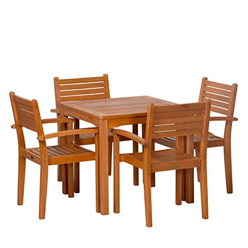 Leadville Square Dining Set - DTY Outdoor Living 5-Piece Eucalyptus Patio Furniture Set with Table and 4 Stacking Chairs (Patio Furniture Fsc)