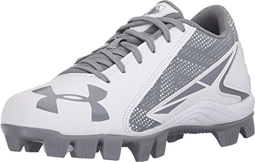 Under Armour Kids Unisex UA Leadoff Low RM Jr. Baseball (Toddler/Little Kid/Big Kid) Baseball Grey/White Sneaker 2 Little Kid M