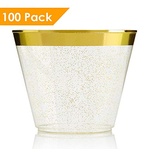 100 Gold Glitter Gold Rimmed Plastic Cups ~