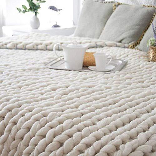 Lovis.Q Hand Chunky Knitted Blanket Thick Yarn Wool Blanket Bulky Knitting Throw Gift 80X100cm 12.8